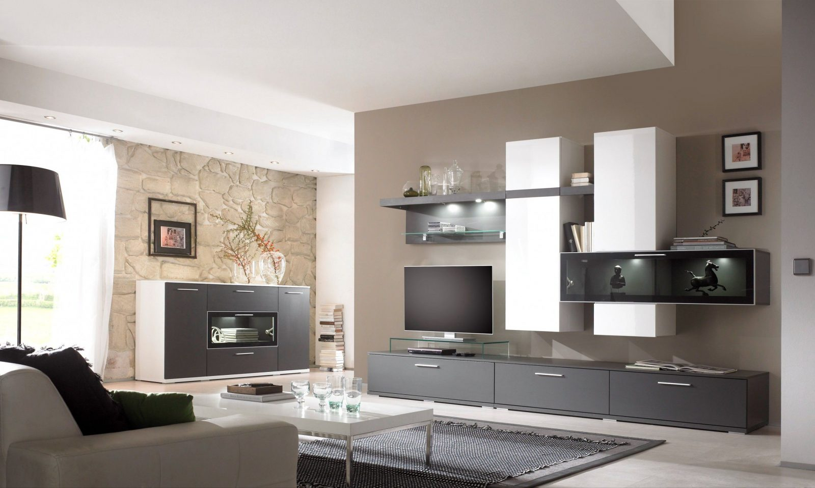 Marvellous Design Wandgestaltung Wohnzimmer Braun Beige Home von ...