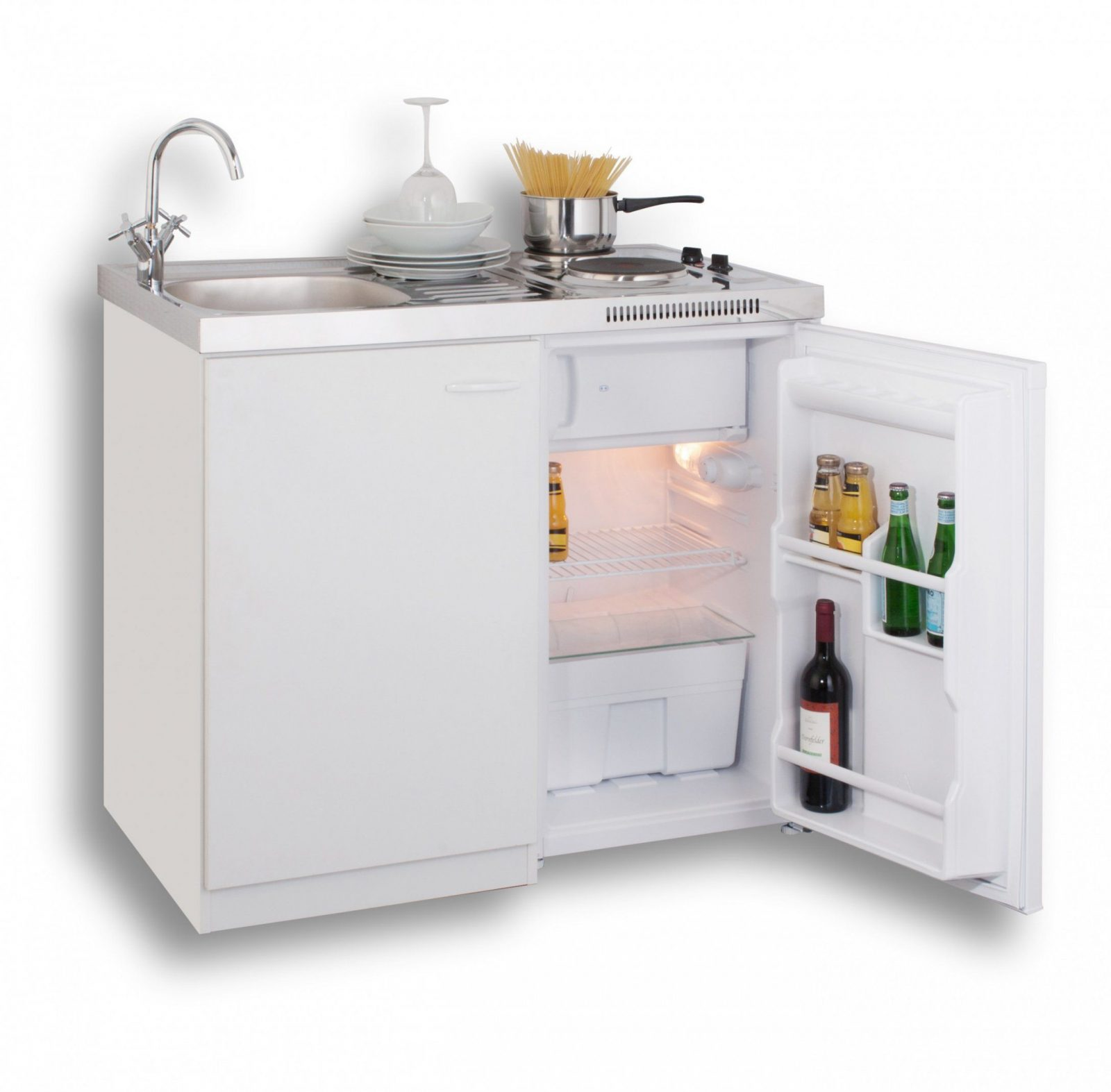 Mebasa Mk0001 Pantryküche Miniküche 100 Cm Weiß Mit Duokochfeld Und von Pantryküche 100 Cm Mit Kühlschrank Photo