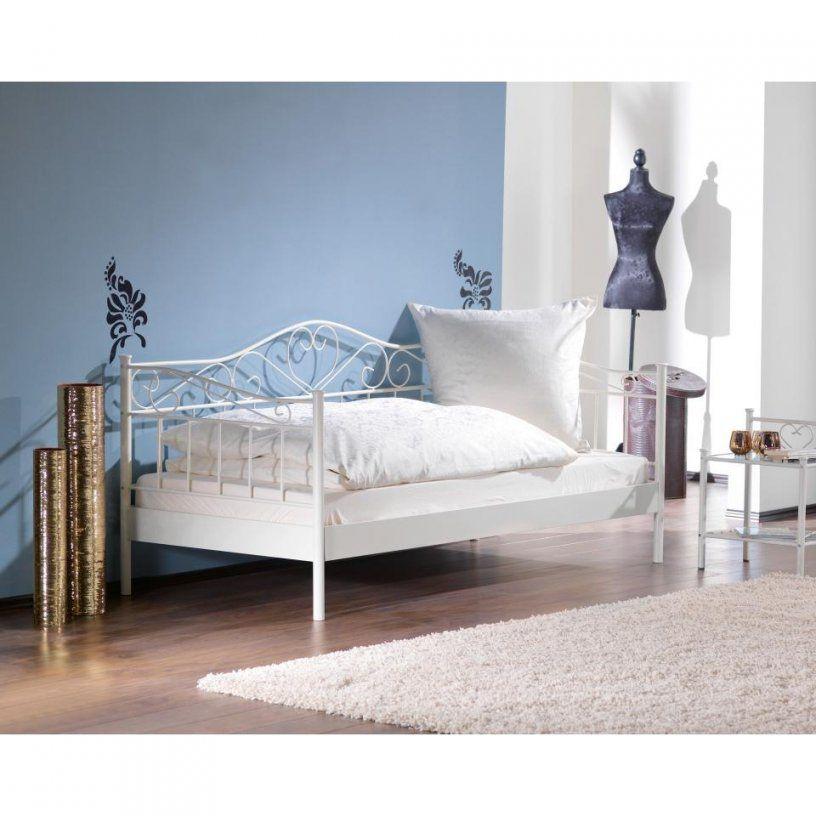 Metallbett In Weiß Im Prinzessinnendesign 90 X 200 Cm Einzelbett Von  Metallbett Weiß 90X200 Dänisches Bettenlager