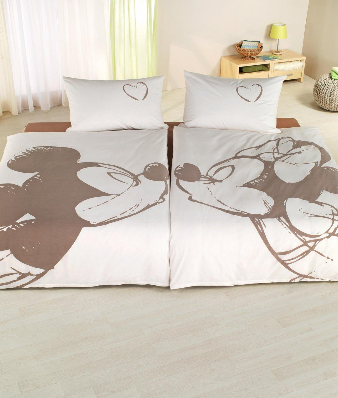 Mickey Mouse Partnerbettwäsche Im 2Erset Kaufen  Angela Bruderer von Partner Bettwäsche Herz Bild