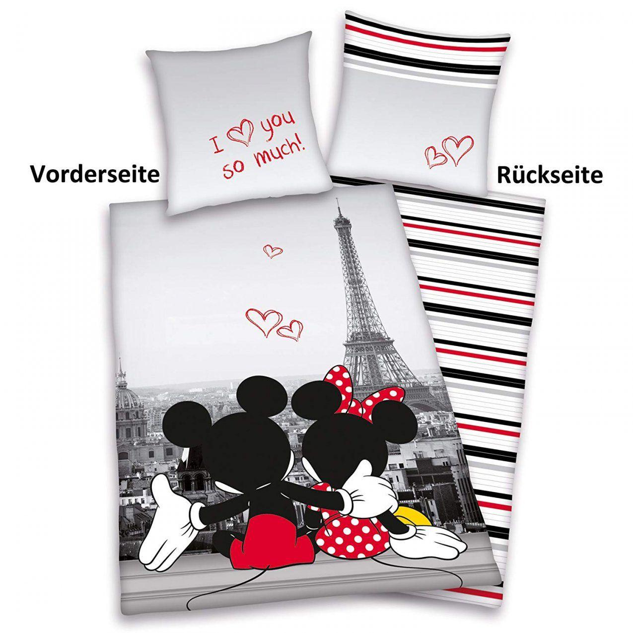Mickey Mouse Queen Bettwaesche Set  Dibinekadar Decoration von Partner Bettwäsche Mickey Mouse Und Minnie Mouse Bild