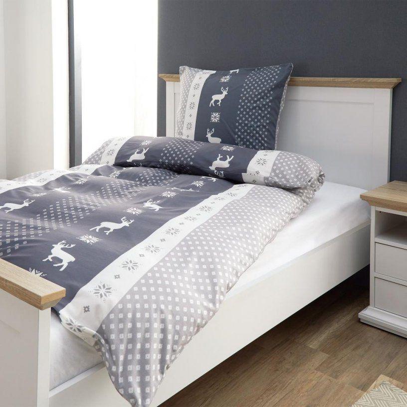Microbiberbettwäsche Elch (135X200 Grau)  Dänisches Bettenlager von Biber Bettwäsche Elch Photo