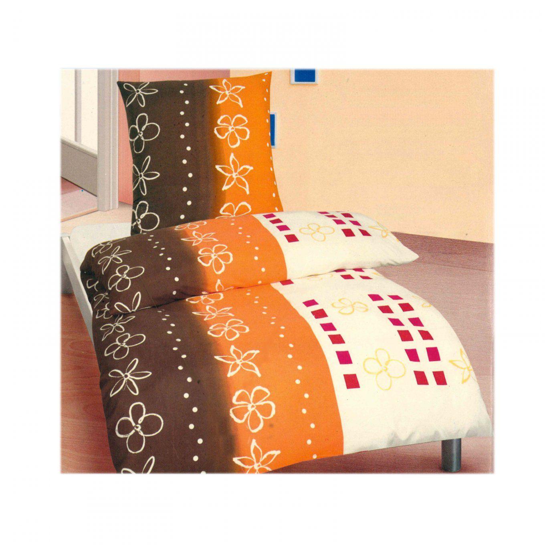 Microfaser Bettwäsche 155X220 Cm 2 Oder 4 Teilig Braun Orange Blumen von Bettwäsche 155X220 Mit Zwei Kopfkissen Bild