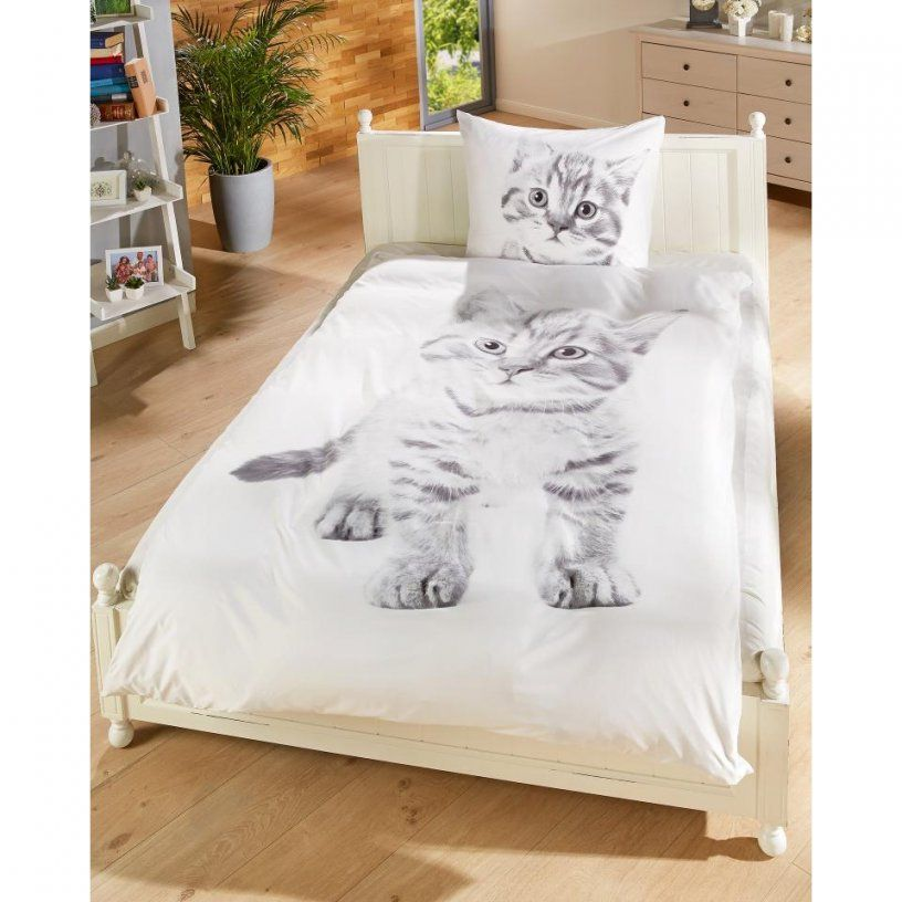 Microfaserbettwäsche Katze (140 X 200 Cm)  Dänisches Bettenlager von Bettwäsche Katzenmotiv Fotodruck Photo