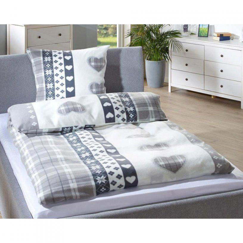 Microfleecebettwäsche Herzen (155X220 Grau)  Dänisches Bettenlager von Microfleece Bettwäsche 155X220 Photo