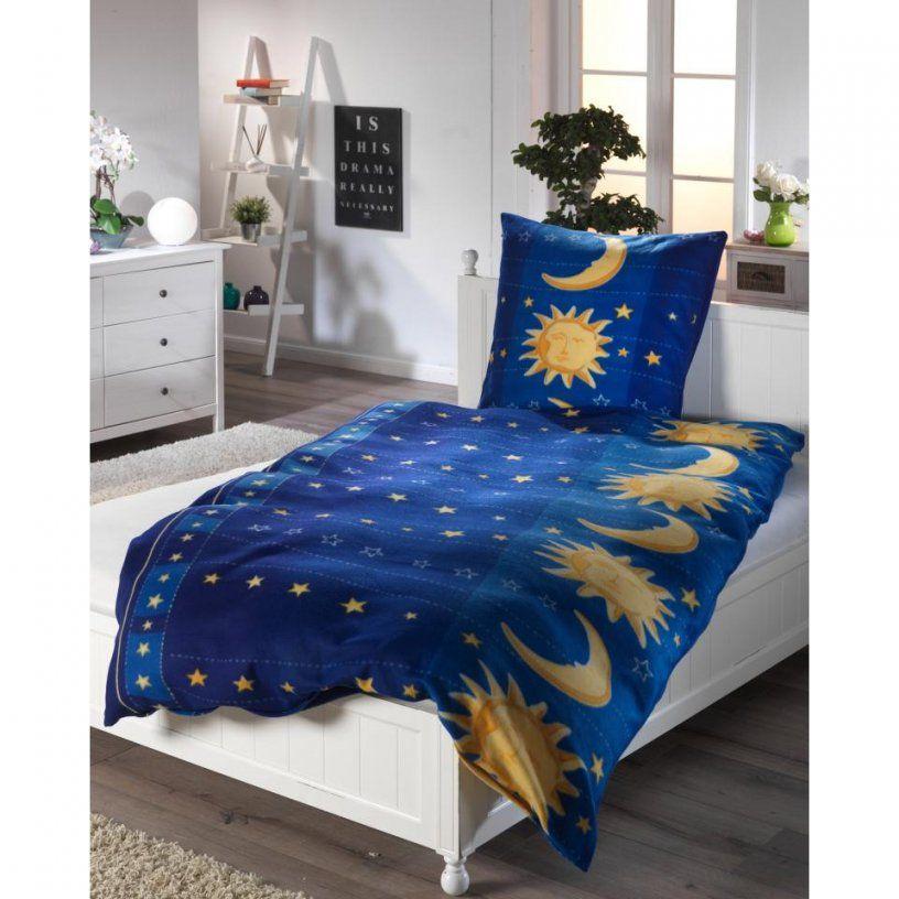 Microfleecebettwäsche Sonne Mond & Sterne (135 X 200 Cm Blau von Microfleece Bettwäsche 135X200 Photo