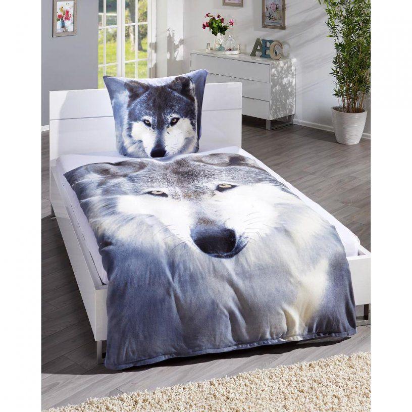 Microfleecebettwäsche Wolf (135X200 Weißgrau)  Dänisches Bettenlager von Microfleece Bettwäsche 135X200 Photo