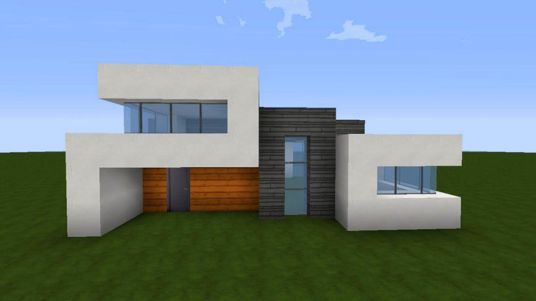 Minecraft Modernes Haus Akazieweißgrau Bauen  Tutorialanleitung von Minecraft Häuser Bauen Anleitung Bild