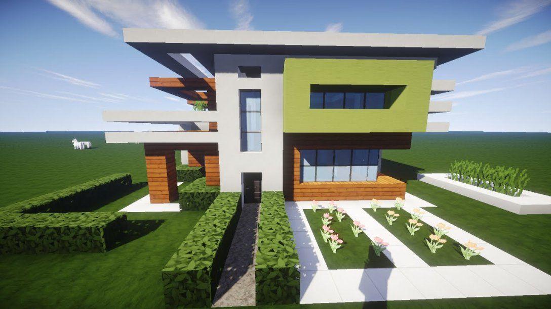 Minecraft Modernes Haus Holz Weiß Grün Bauen  Tutorialanleitung von Minecraft Haus Bauplan Erstellen Bild