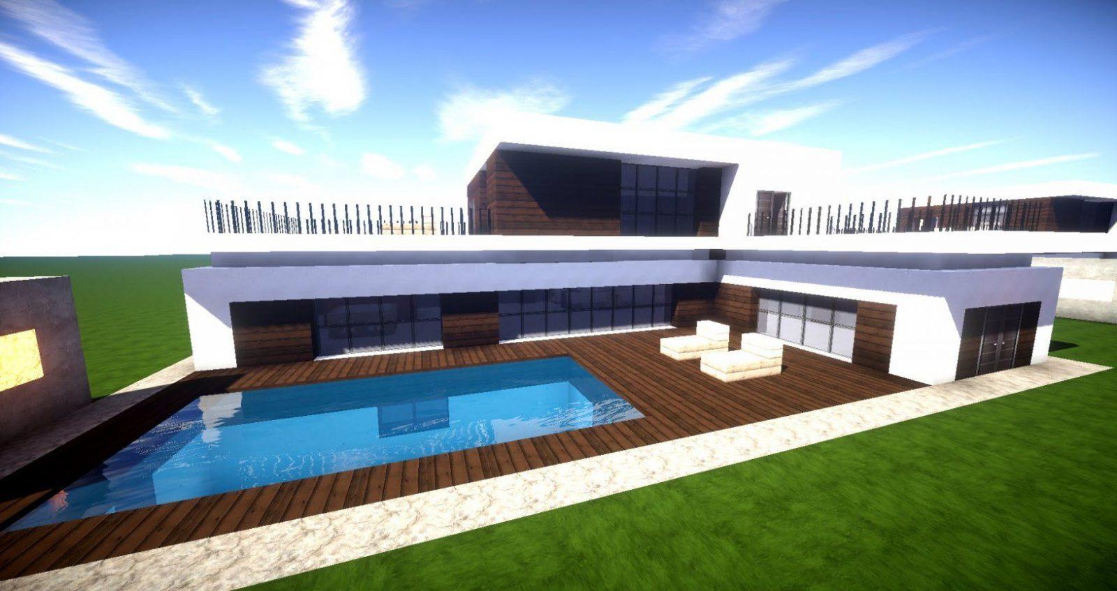 Minecraft Modernes Haus Mit Poolterrasse Bauen 27X20  Tutorial von Minecraft Villa Modern Bauplan Bild