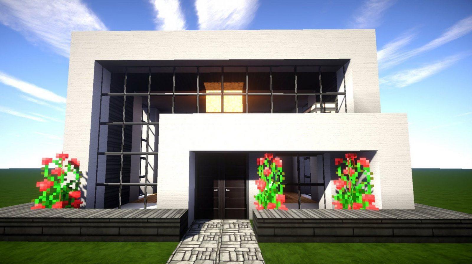 Minecraft Modernes Haus Mit Wasserfall Bauen 14X12  Tutorial von Minecraft Modernes Haus Bauen Anleitung Bild
