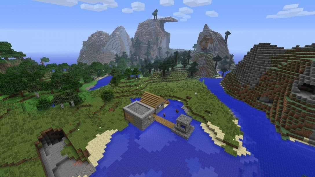 Minecraft Ps4 Mountain Seed 139 With Tiny Village  Minecraft Seeds von Minecraft Seeds Ps4 Castle Photo