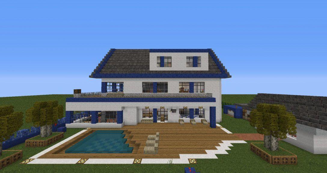 Minecraft Villa Bauen von Minecraft Häuser Modern Bauplan Bild