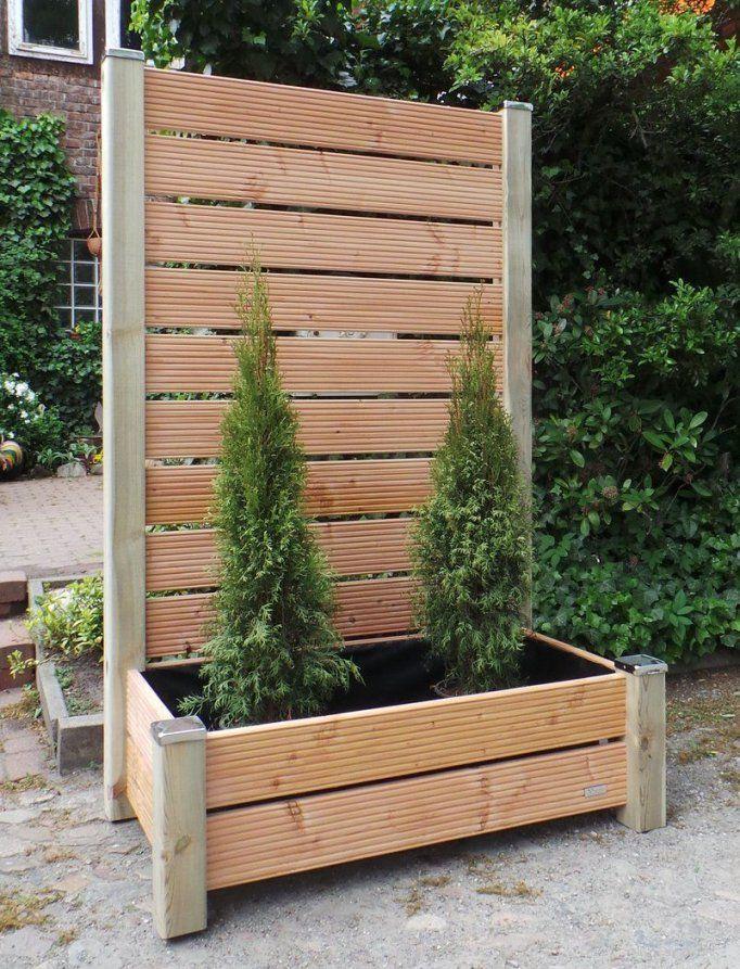 Mobiler Sichtschutz Mit Pflanzkasten H190 Blumenkasten  Garten von Pflanzkübel Selber Machen Holz Photo