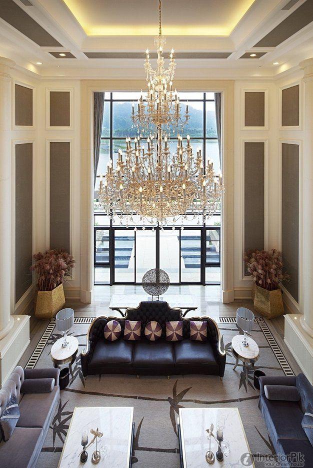 Modern Chandeliers For High Ceilings Cosmic Black Granite Gooseneck von Modern Chandelier For High Ceiling Bild