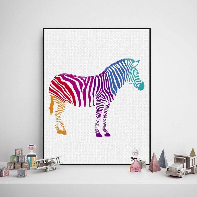Moderne Abstrakte Zebra Wandkunst Dekor Drucken Und Poster Aquarell von Zebra Bilder Auf Leinwand Bild