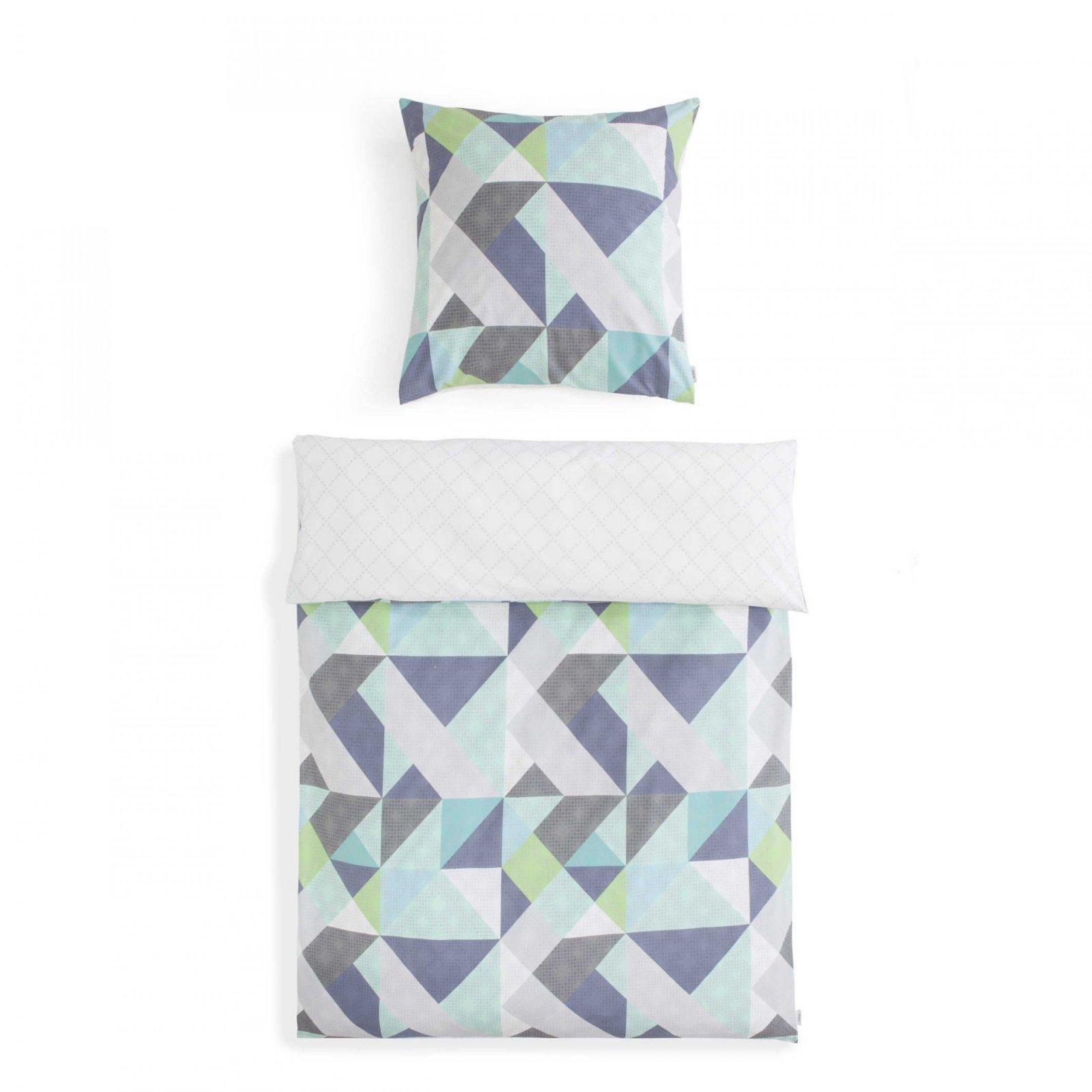 Moderne Bettwäsche Mit Geometrischem Muster Mint Grau Grün Blau von H&m Bettwäsche 155X220 Bild