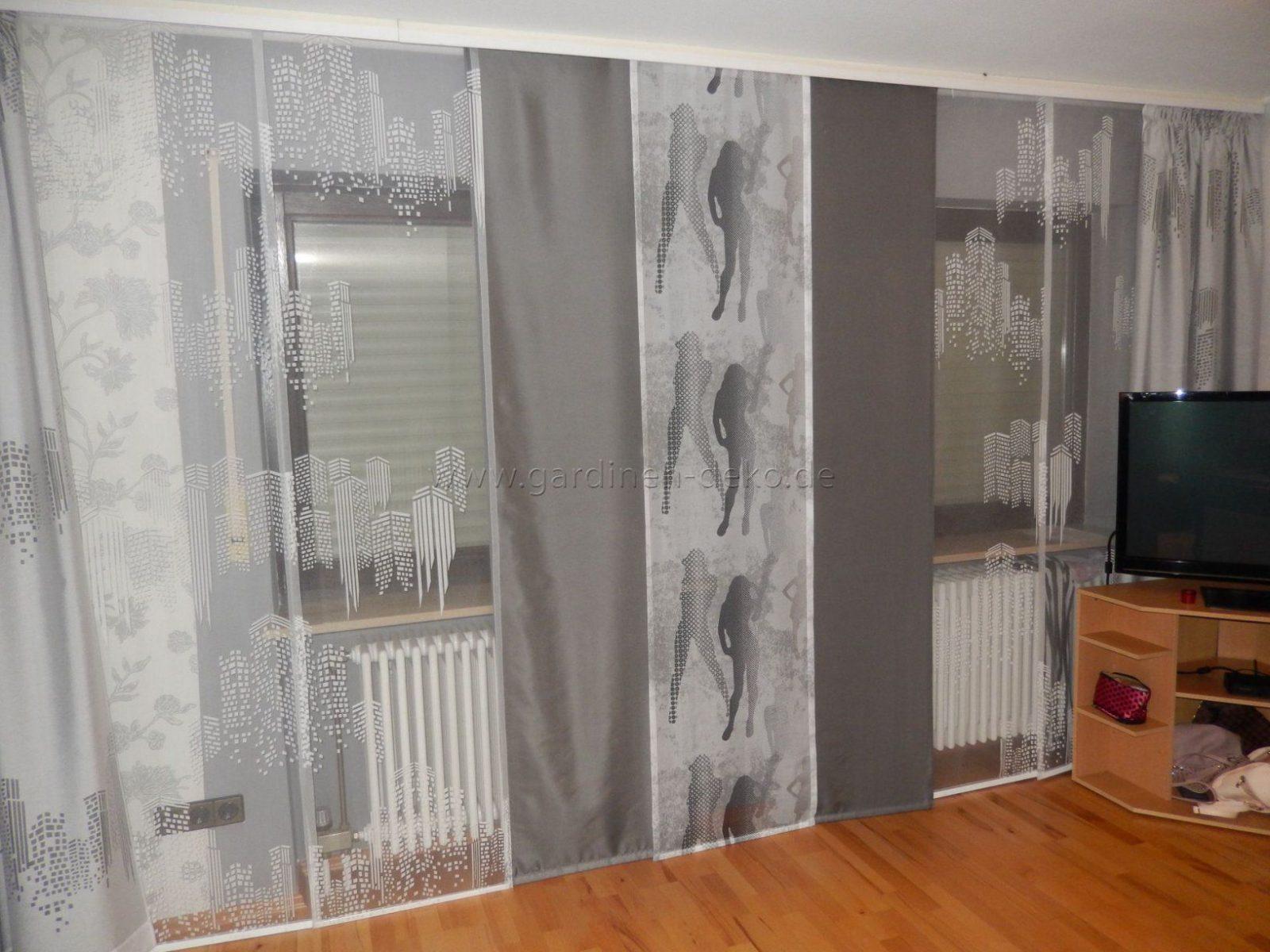 Moderne Weißgraue Schiebegardine Fürs Wohnzimmer Mit von Gardinen Schwarz Weiß Grau Photo