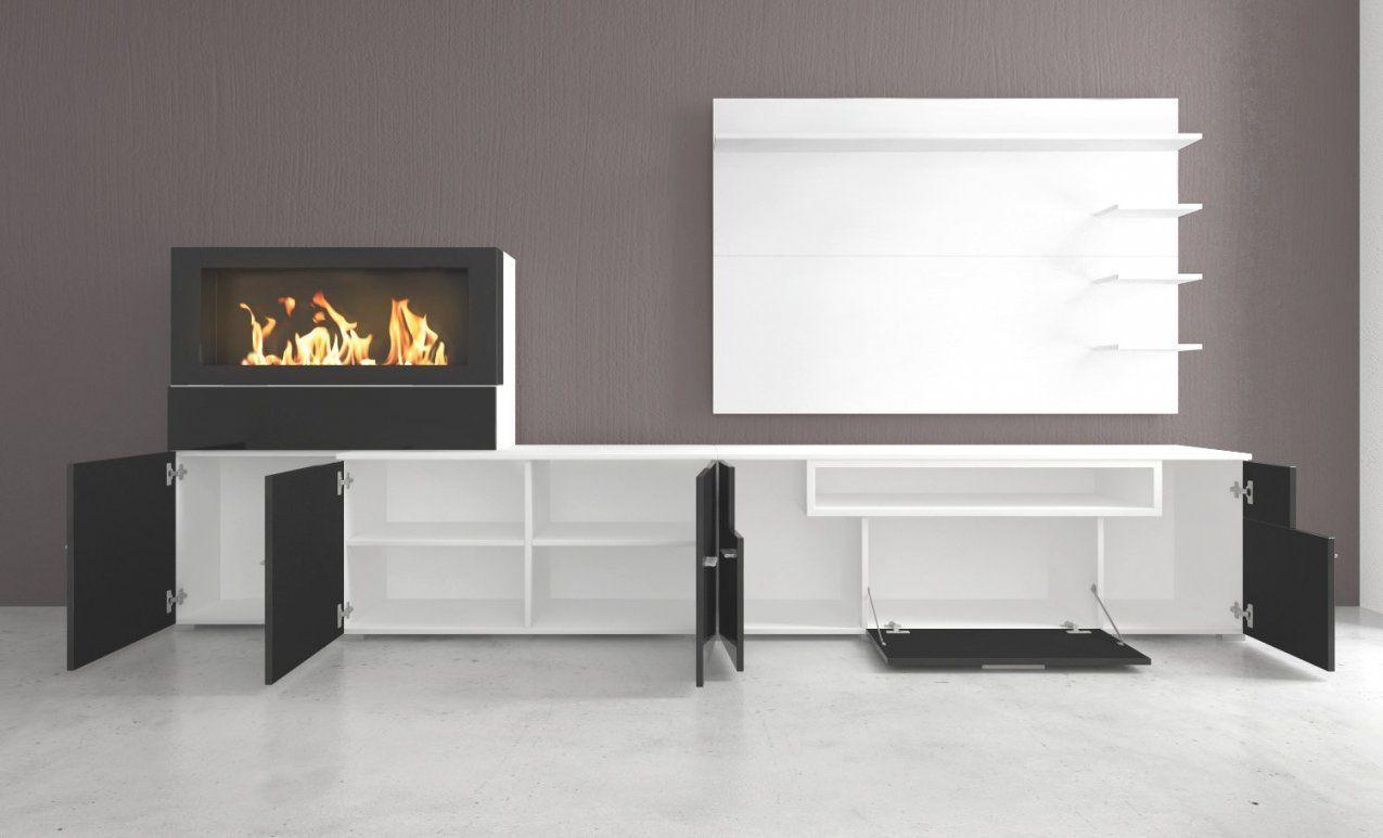 Moderne Wohnwand Mit Integriertem Bioethanol Kamin Home Innovation von Wohnwand Mit Integriertem Kamin Bild
