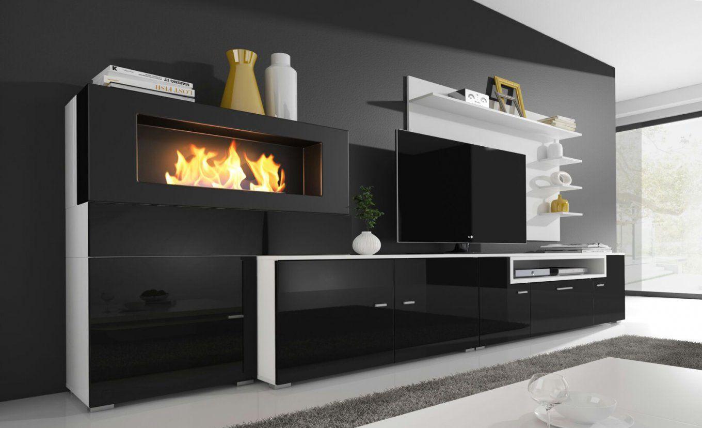 Moderne Wohnwand Mit Integriertem Bioethanol Kamin  Real von Wohnwand Mit Integriertem Kamin Bild