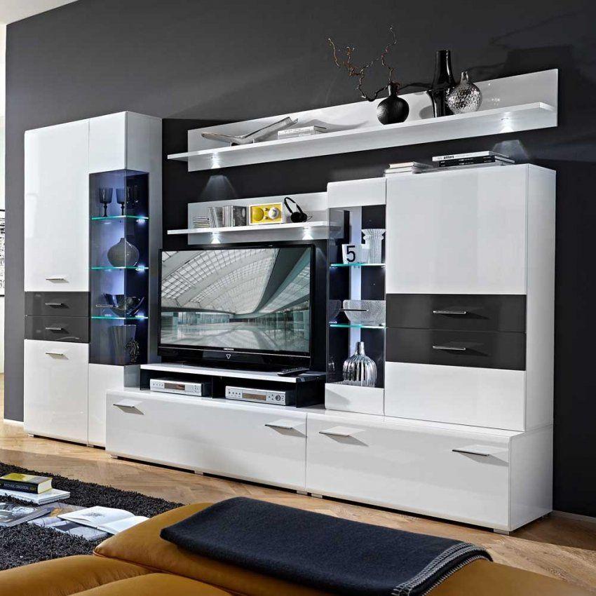 Moderne Wohnwände Günstig Kaufen  Pharao24™ von Wohnwand Hochglanz Weiß Günstig Bild