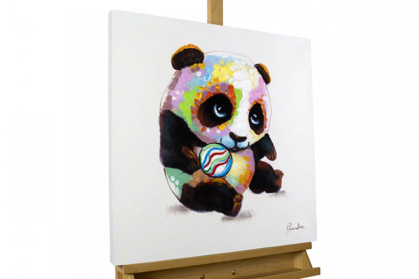 Modernes Acrylgemälde Mit Süßem Pandabär  Kunstloft von Leinwandbilder Selbst Gemalt Modern Photo