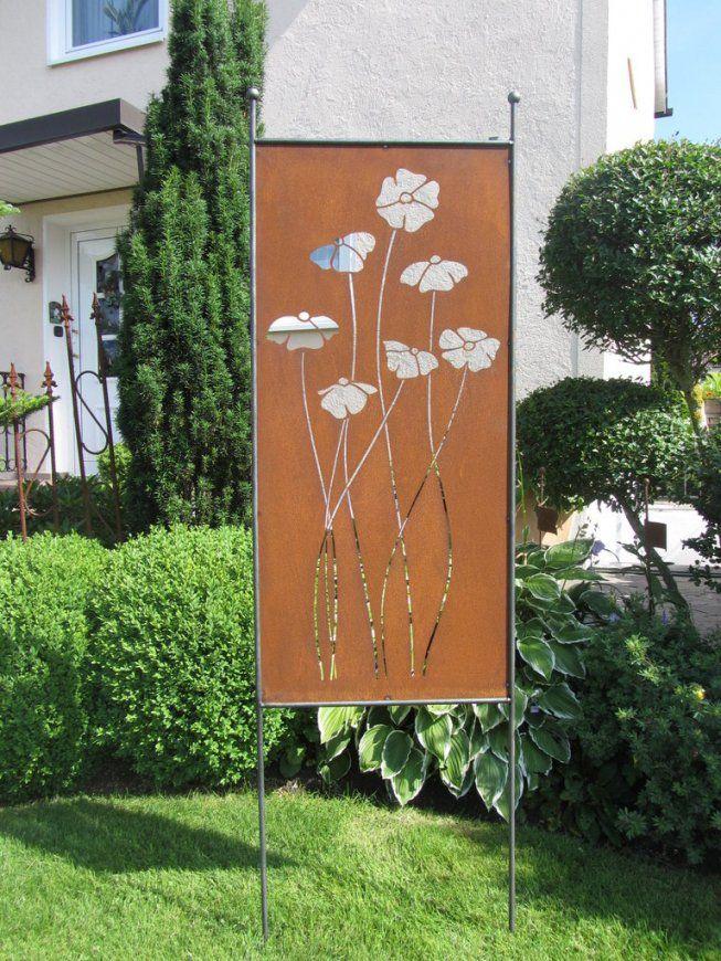 Mohnblume Avec Rost Deko Im Garten Et Sichtschutz Mohnblume 2 9 Rost Von Sichtschutz  Garten Metall Rost Bild