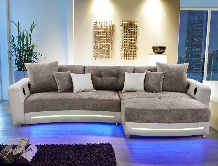 Multimedia Sofa Larenio Hifi Wohnlandschaft 322X200 Cm Greige Couch von Couch Mit Led Beleuchtung Photo