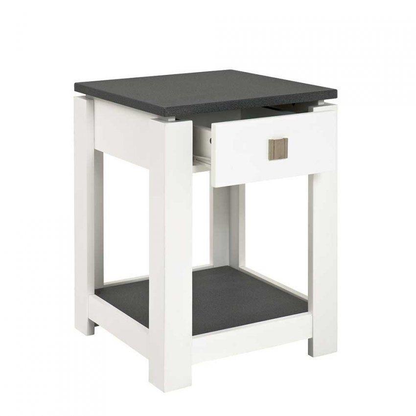 Nachttisch Kommode Mercadeo In Weiß Grau 40 Cm  Wohnen von Nachttisch 40 Cm Breit Photo