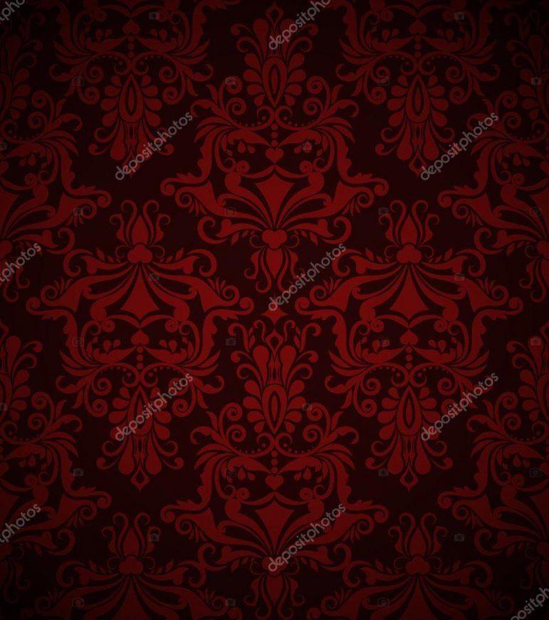 Nahtlose Dunkel Rote Vintage Vektortapetemuster — Stockvektor von Rote Tapete Mit Muster Bild