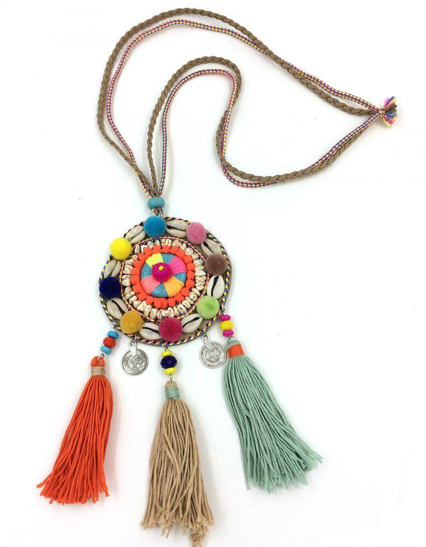 Neue Boho Lange Halskette Traumfänger Samt Ball Quaste Halskette von Lange Kette Mit Quaste Bild