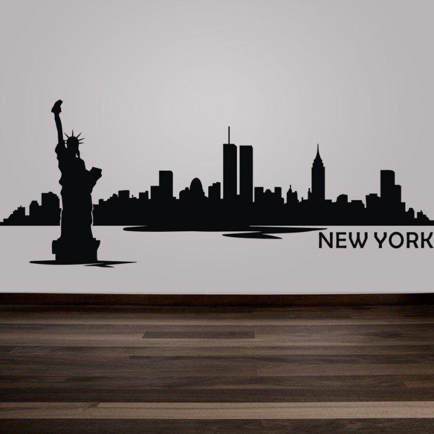 New York City Skyline Silhouette Wandtattoo Benutzerdefinierte Vinyl von Skyline New York Wandtattoo Photo
