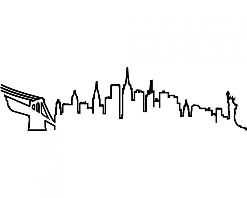 New York Skyline Silhouette Wandtattoo Kontur  Skyline4U von Skyline New York Wandtattoo Bild