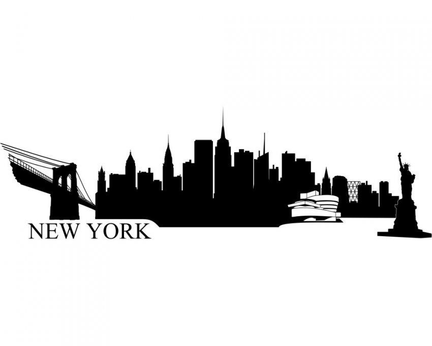 New York Wandtattoo Skyline Viele Farben  Skyline4U von Skyline New York Wandtattoo Photo