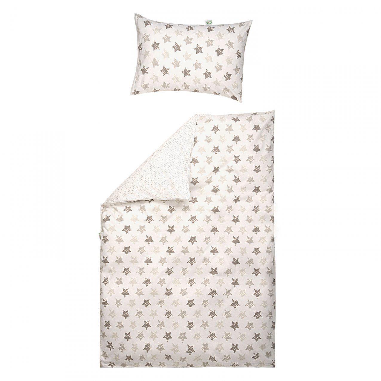Odenwälder Bettwäsche 100X135 Cm Jersey Sternetupfen Latte  Babyjoech von Bettwäsche 100X135 Sterne Bild
