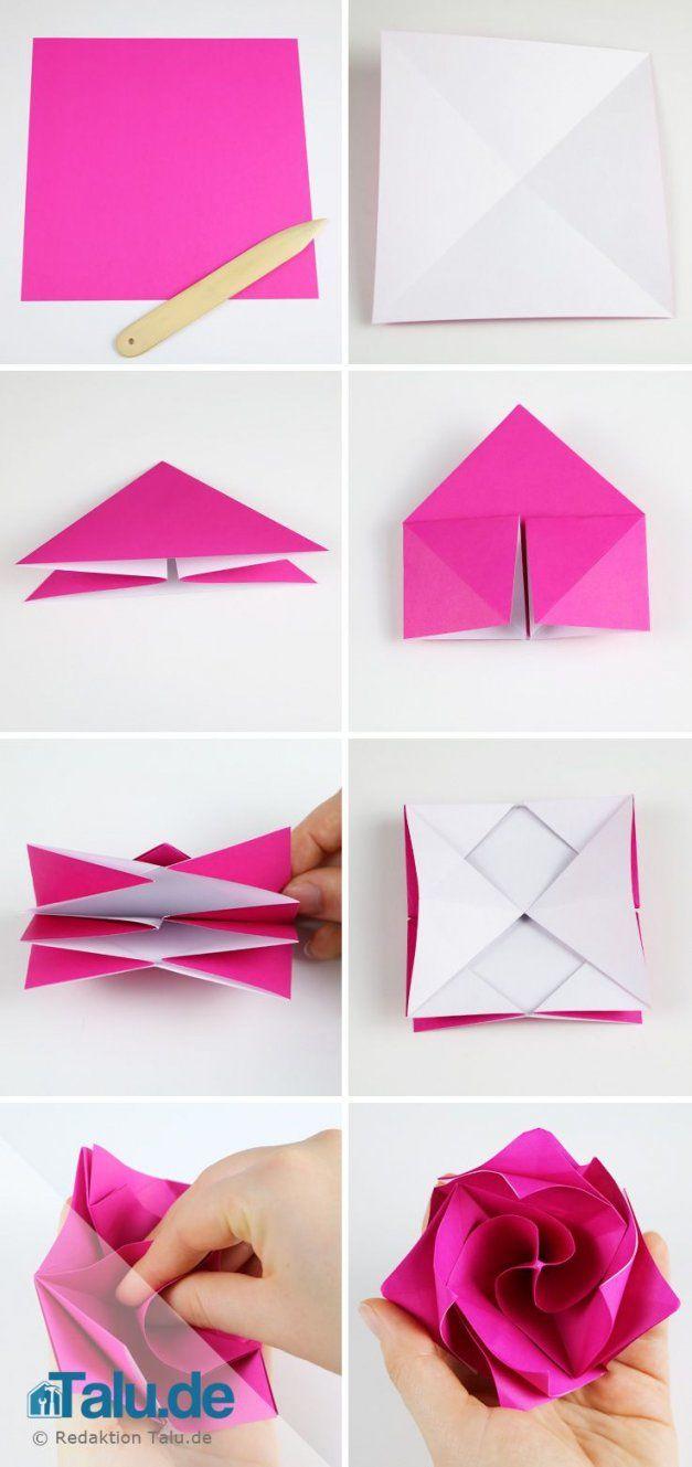 Origami Rose Aus Papier Falten Diy Anleitung Origami Basteln Avec von Blume Aus Papier Falten Anleitung Bild