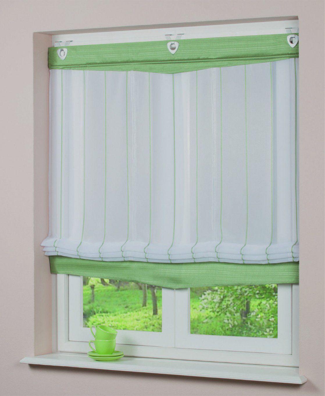 Ösenraffrollo Voile Transparent Grün 45X140Cm Inkl Haken Mit Deko von Raffrollos Mit Haken Und Ösen Bild