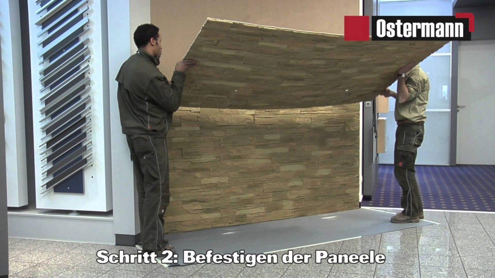 Ostermann  Gfksteinpaneele  Verarbeitungsvideo  Youtube von Wandverkleidung Steinoptik Kunststoff Innen Bild