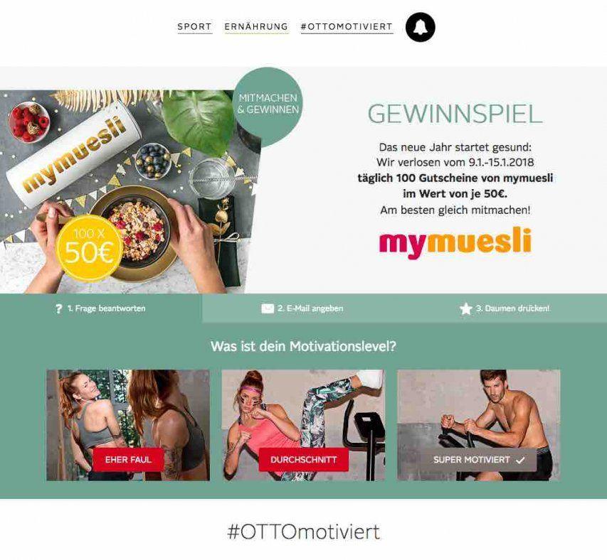 Otto Gewinnspiel  Täglich Einen Gutschein Von Mymuesli Gewinnen von 15 Euro Gutschein Otto Bild