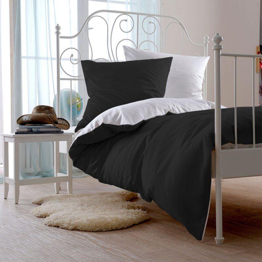 Outstanding Schwarze Bettwäsche Mako Satin Set Aus 100 Baumwolle von Bettwäsche 200X200 Schwarz Weiß Photo