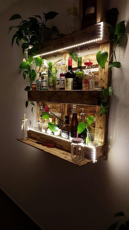 Palettenregal Bar Aus Paletten Mit Led Beleuchtung Holz Diy von Bar Beleuchtung Selber Bauen Photo