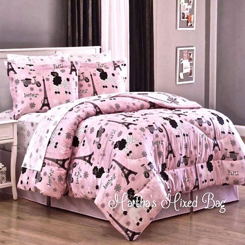 Paris Chic Eiffel Tower French Poodle Teen Girls Pink Comforter Bed von Girls Paris Themed Bedding Photo