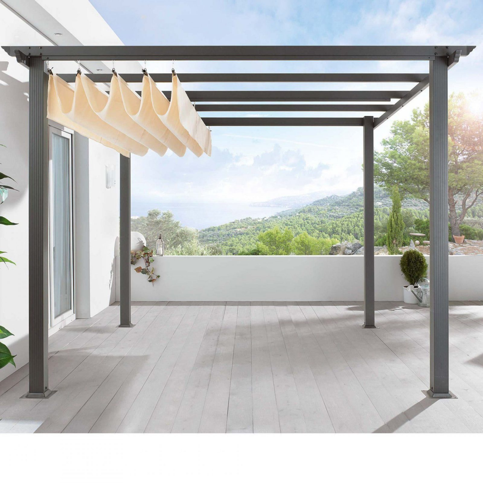 Pavillon Mit Faltdach Hh97 – Hitoiro von Flachdachpergola 3 X 4 Bild