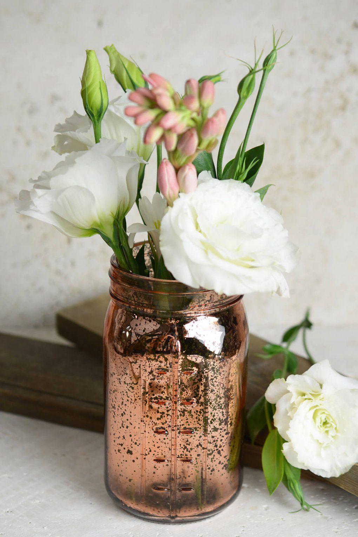 Pink Rose Gold Mercury Glass Mason Jars von Mason Jar Flower Vases Bild