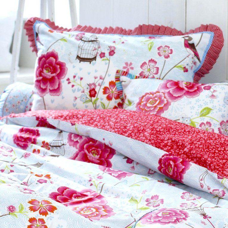 Pip Bettwasche Studio Cherry Pink Birds In Paradise Grey 200×220 155 von Pip Bettwäsche 155X220 Reduziert Photo