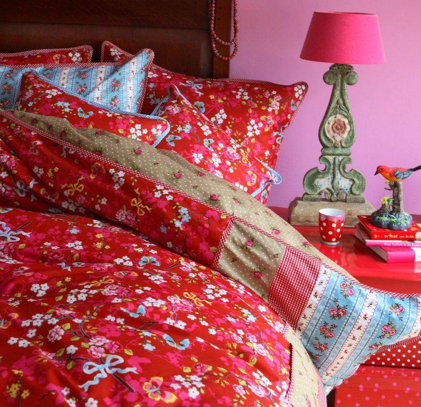 Pip Studio Bettwäsche Chinese Rose Red Rot 135X200 Cm Baumwolle 60 von Pip Bettwäsche Rot Bild