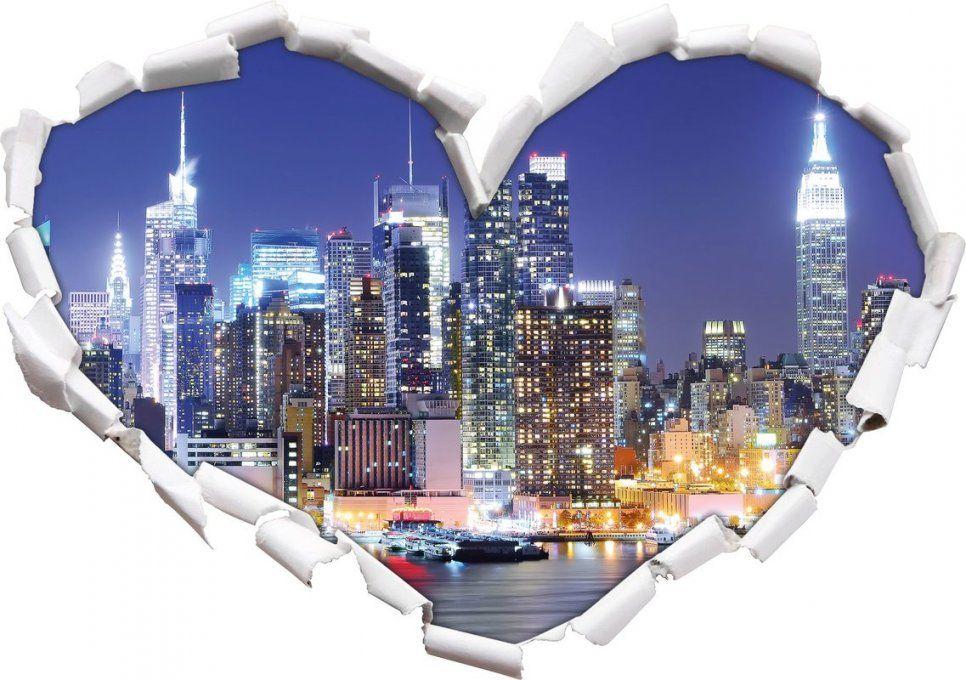 Pixxprint Wandtattoo New York City Skyline Brücke Bei Nacht von Wandtattoo New York City Photo