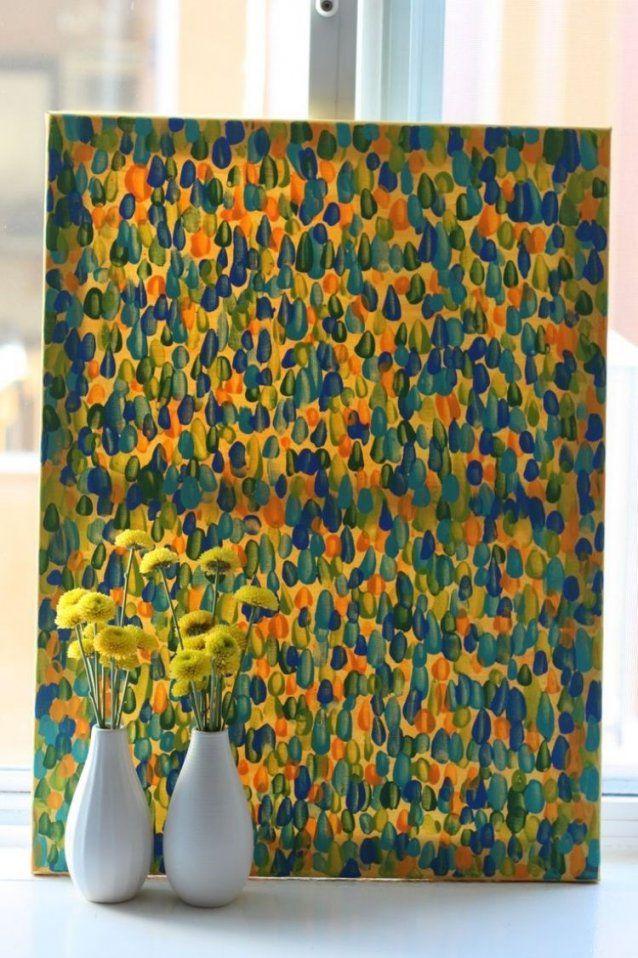 Pointillistisches Bild Selber Machen  Farben Und Stupfpinsel Werden von Bild Auf Leinwand Selber Machen Photo