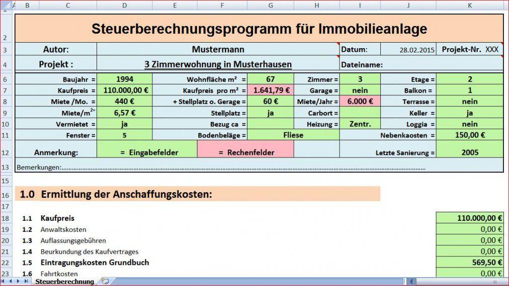 Programm Steuerberechnung F Immobilienanlage von Hausbau Kosten Kalkulieren Excel Bild