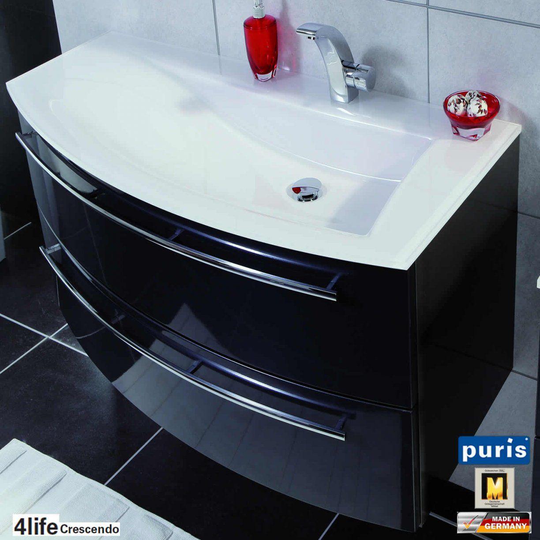 Puris Crescendo Badmöbel Als Waschtischset 90 Cm  Glas  Links von Badmöbel 90 Cm Breit Photo